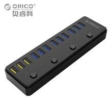 ORICO 60 Вт 12 Порты и разъёмы USB 3.0 концентратор в том числе 3 BC1.2 зарядки Порты и разъёмы и 4 Мощность Настенные переключатели Светодиодные индикаторы (P12-U3)