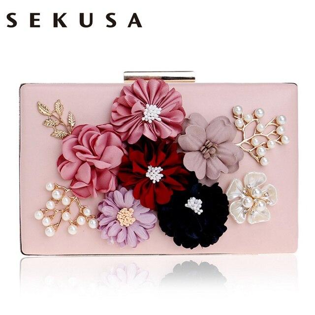 SEKUSA PU Fashion Women Evening Bag Flower Beaded Small Day Clutch Evening Bag With Chain Shoulder Handbags Leather Metal Purse