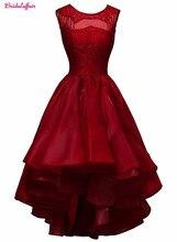 KapokBanyan Real Photo Deep Red Satin O Neck Lace Short Prom Dresses 2017 Sleeveless Zipper Back Party Gown Robe de soiree