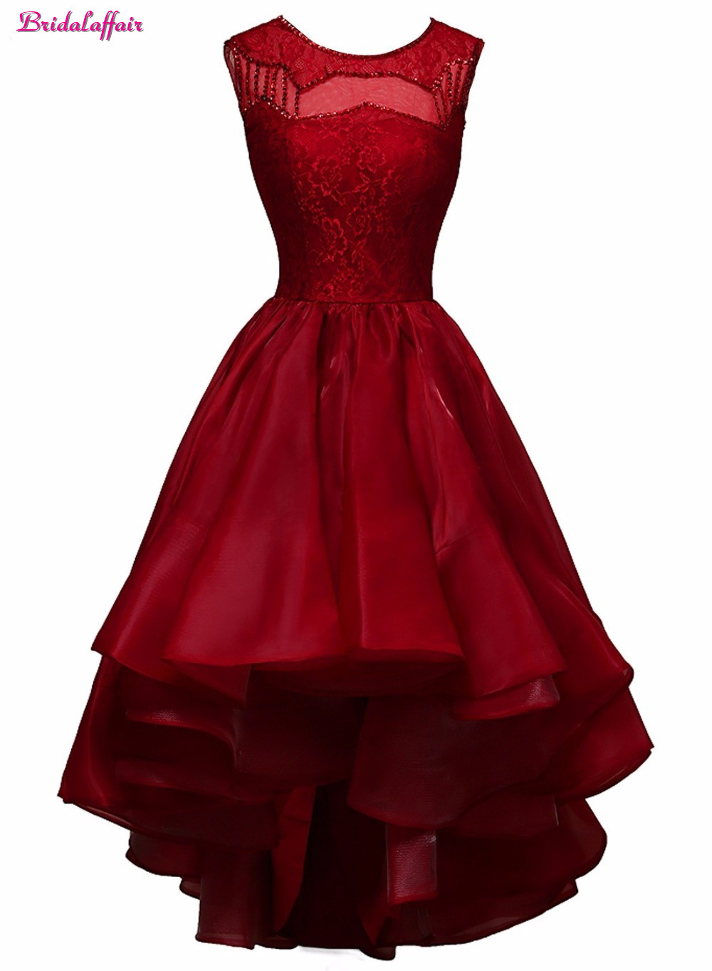 Bridalaffair Real Photo Deep Red Satin O Neck Lace Short   Prom     Dresses   2017 Sleeveless Zipper Back Party   Prom   Gown Robe de soiree