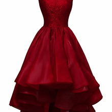 bbbd4d3a8a8 KapokBanyan Real Photo Deep Red Satin O Neck Lace Short Prom Dresses 2017  Sleeveless Zipper Back