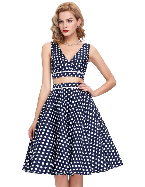 8023bcfe6f7183 Belle Poque Summer Cotton Retro Rockabilly Swing Vestido Pin Up 50s Vintage  Casual Dresses Two 2 Piece Set Women Polka Dot Dress