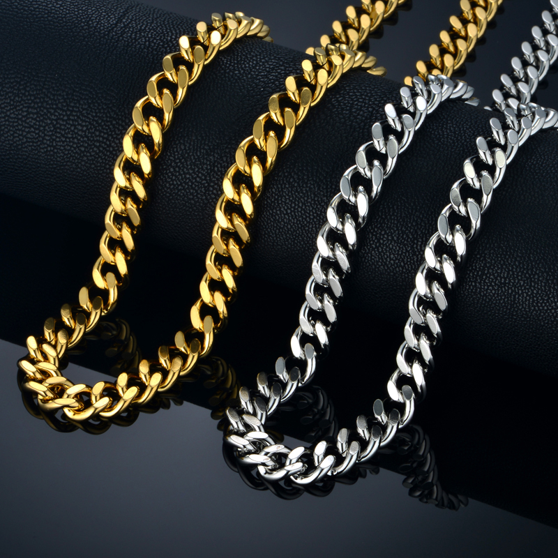 Hiphop Cuban Thick Chain Necklace Gold Color Miami Mens Stainless Steel Chains Collier Long Male Necklace Jewelry For Men