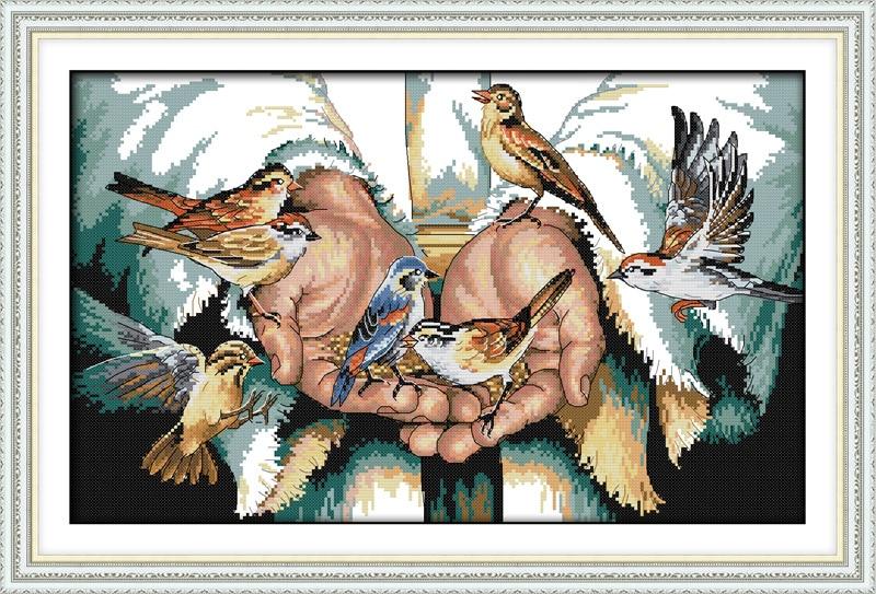 Met liefde in de hand Bedrukt canvas DMC geteld Chinees borduurpakket - Kunsten, ambachten en naaien