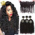Indian Human Hair With Closure kinky curly Ear To Ear Lace Frontal With 3 Bundles Lace Front Closure With Bundles Annabelle Hair