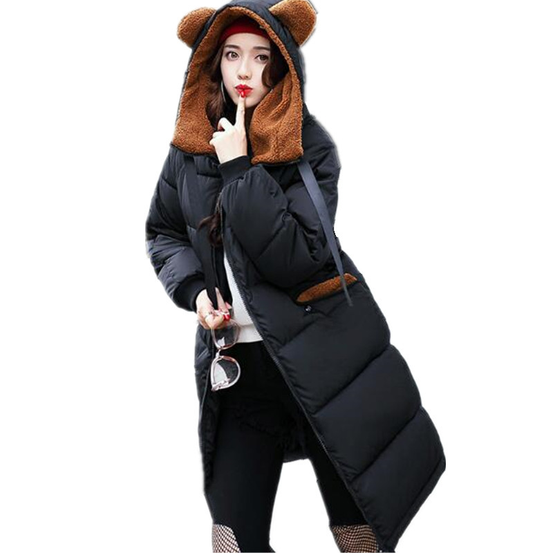 Camouflage Plus Size Ear Hooded Cute Cotton Padded   Parkas   Loose Jaquetas Women Winter   Parka   Medium-long Thick Jacket TT3012