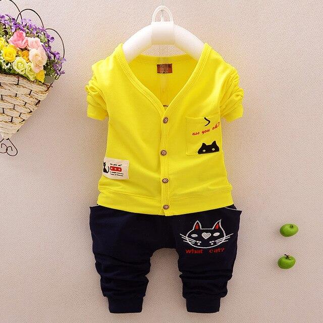 2016 высокое качество детская одежда устанавливает хлопок кот девочка мальчик одежда детей спортивный костюм свободного покроя одежда установить рубашку + брюки
