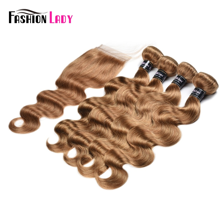 Fashion Lady Pre-Colored Indian Hair Bundles With Closure 4 Bundles Body Wave Color 27# Blonde Bundles With Closure Non-Remy