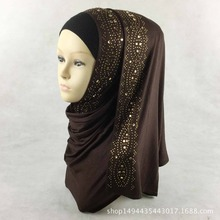 15 цветов блестящие золотые стразы пузырь шифон хиджаб шарф Мусульманский Исламский головной убор Твердый Шарф