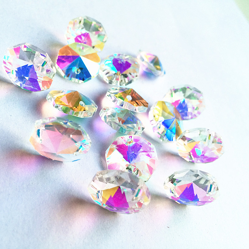 50pcs AB Color 14mm Crystal Octagon Beads 2 Holes Crystal Glass Chandelier Parts, Crystal Hanging Drop