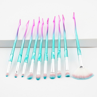 10pcs Unicorn Makeup Brushes Rose Gold Mermaid Brush Eye Shadow Foundation Eyebrow Makeup Brushes Fishtail Brush