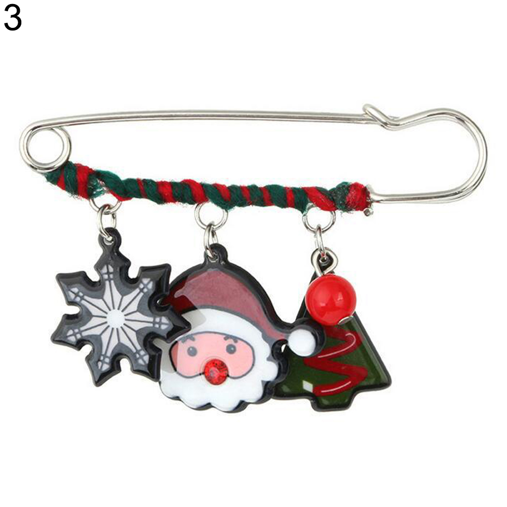 Christmas Sled Dog/Elk/Snowman/Bell Charm Brooch Pin Dress Scarf Xmas Decor