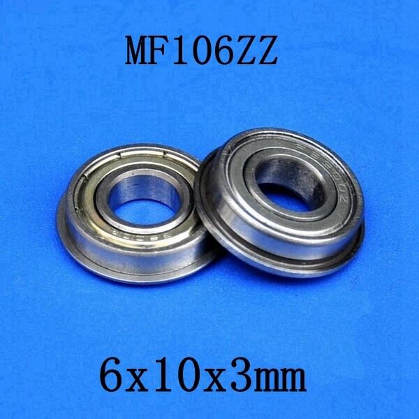 100pcs lot MF106ZZ flanged bearing 6x10x3 mm MF106 miniature flange deep groove ball bearings 6 10