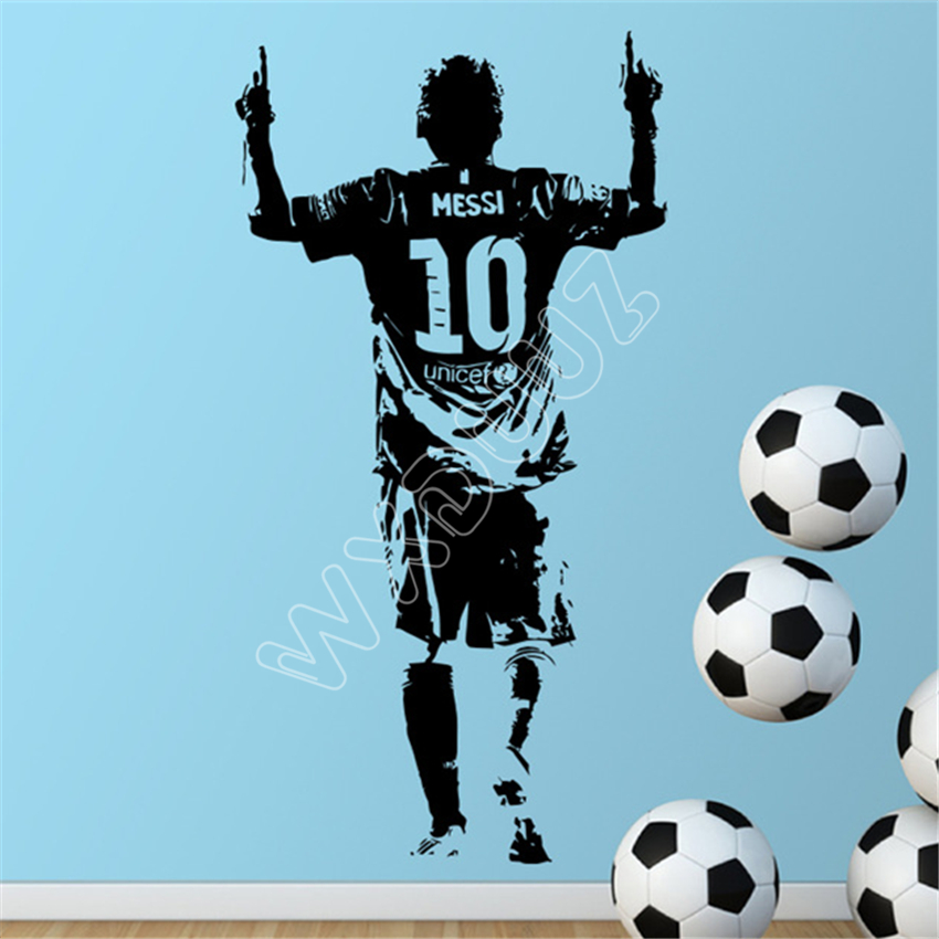 WXDUUZ design Messi Figure Wall Sticker Vinyl DIY home decor football star Decals soccer athlete for kids room Wall Sticker B459