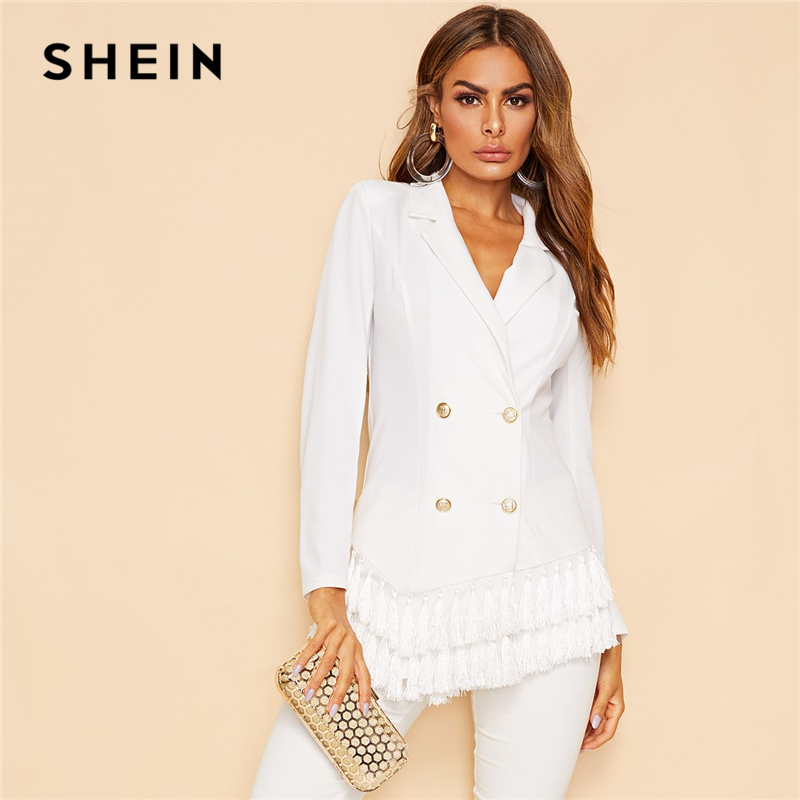 SHEIN White Notched Collar Double Breasted Layered Tassel Hem Blazer Coat Women Spring Solid Slim Fit Elegant Outerwear Coats