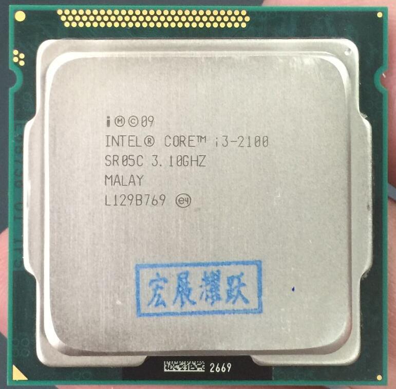 PC Intel Core i3-2100 i3 2100 Processore (3 M Cache, 3.10 GHz) LGA1155 Desktop CPU 100% di lavoro correttamente Desktop Processore