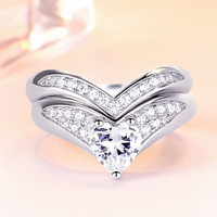Heart Cut Romantic White Stone 925 Sterling Silver Ring For Women 2 PCS Wedding Engagement Ring Set Fine Jewelry Size 4# 6#