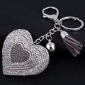 Women Handbag Keyring Pendant Crystal Tassel Silver Plated Love Heart Key Chains Novelty Alloy Keychain Holder