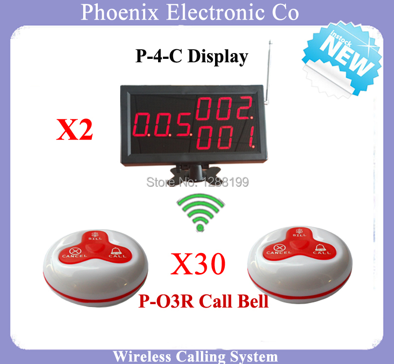 Wireless Waiter Calling  System For Fast Food Restaurant Equipment 2pcs Display Receiver P-4-C and 30pcs O3 Waitress Bell Button wireless pager service calling system for restaurant salon beauty table with d3 bell x25pcs and display receiver p 2000 x1pcs