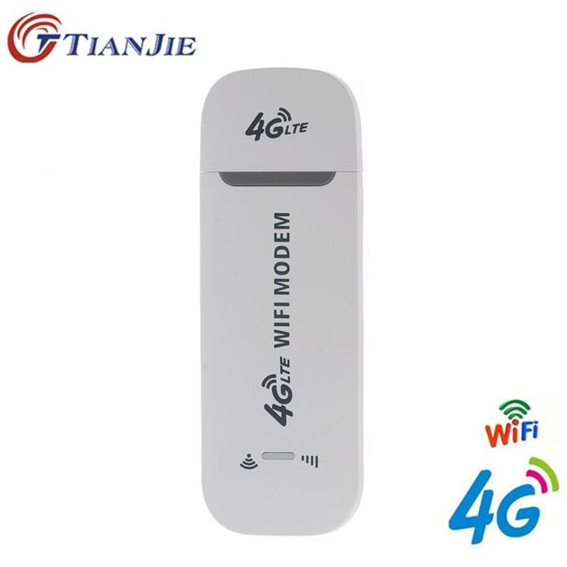 TianJie 4G Router Wi-fi 100 Mbps USB Modem de Banda Larga Sem Fio Hotspot Móvel LTE 3G/4G Desbloqueio dongle com Slot SIM Stick Data Card