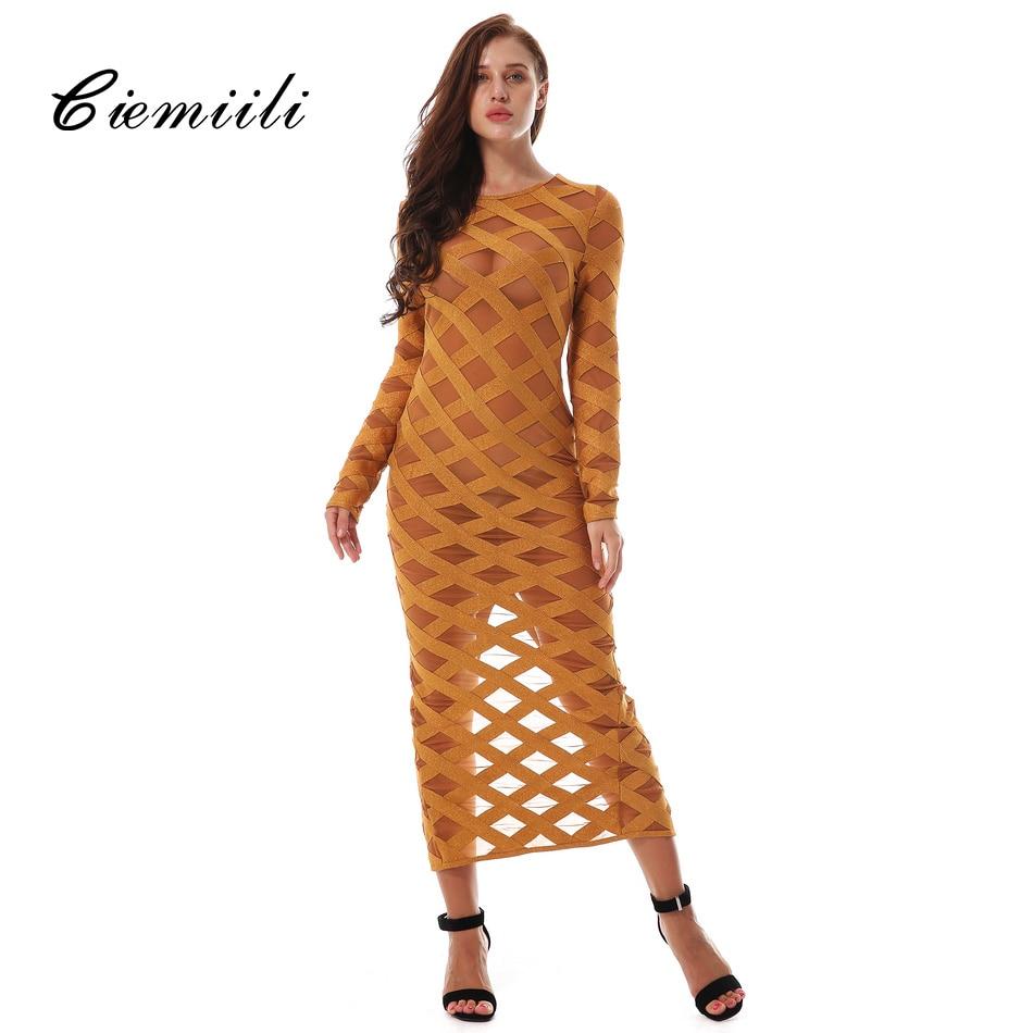 CIEMIILI 2017 New Women Noble Bandage Dress Fashion Split Back Tail Mid Calf Evening Party Bodycon Dress Elegant Striped Vestido