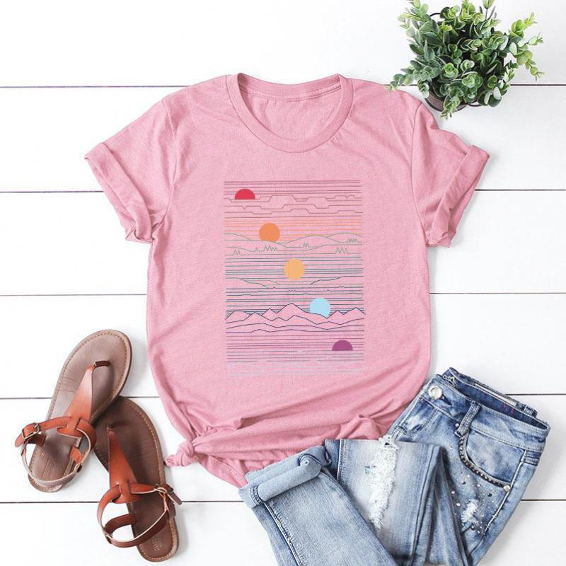 S-5XL Plus Size 2019 New Creative Geometry Harajuku Print Tops Women's T-shirt Summer Cotton Round Neck Short Sleeve Slim Tees