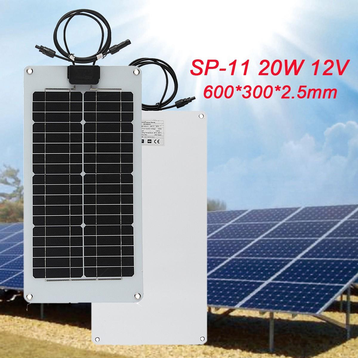 LEORY20W 12V Semi Flexible Solar Panel Monocrystalline Silicon High Conversion Rate Solar System Supply For Most Appliances