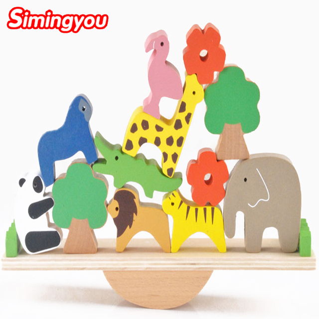 Simingyou Новые Деревянные Игрушки Лесные Животные Качели Бревне Пазлы Для Детей Kids Jjigsaw Головоломки