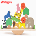 Simingyou New Wooden Toys Forest Animals Seesaw Balance Beam Puzzles For Children Kids Jjigsaw Puzzles
