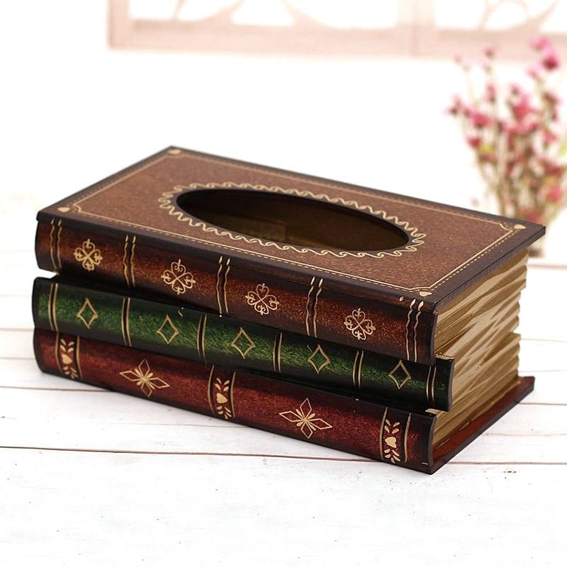 Book Pattern Tissue Box Cover Decorative Tissue Holder Luxury Tissue Box Kitchen Napkin Holder Car Paper Napkin Holder Box