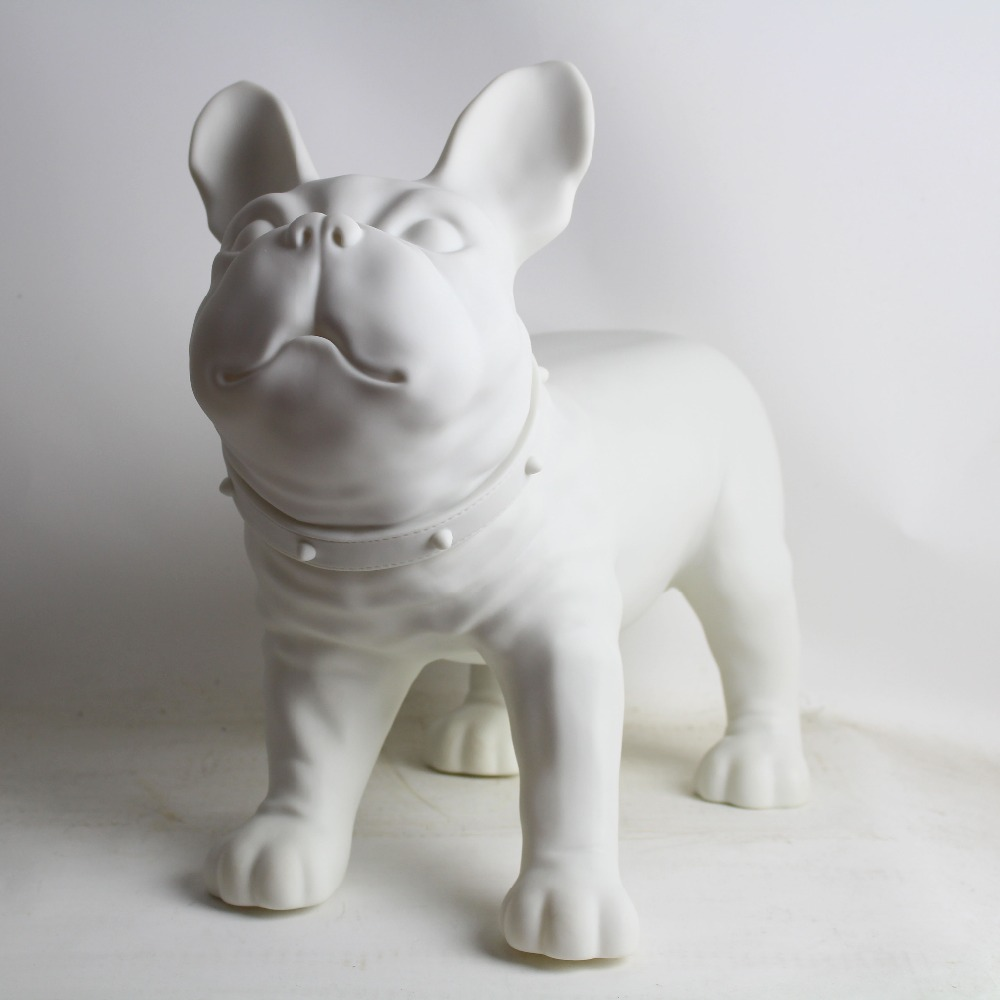 White Plastic French Bulldog Dog Mannequin Sale For Pet Shop Display