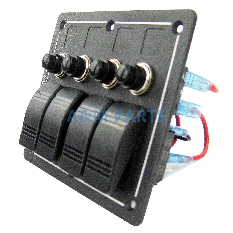 Super Discount] 4 Gang Rocker Switch Panel Aluminium LED Waterproof on