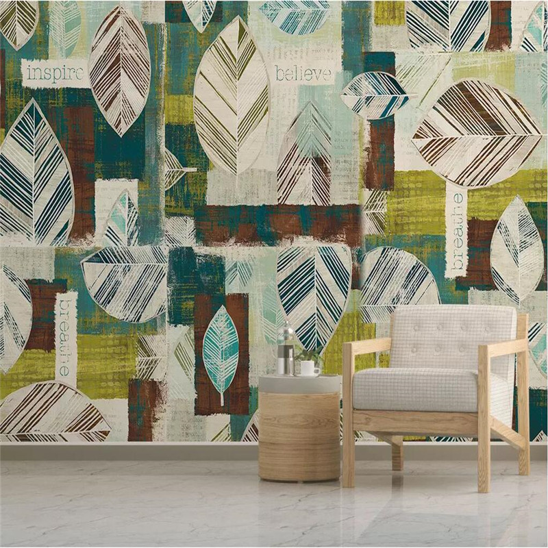 Modern minimalist geometric leaf background wall professional production wallpaper mural custom photo