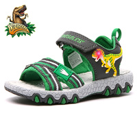 Dinoskulls Toddler Boys Sandals Light Up Glowing Kids Shoes Mesh Casual Children's Beach Shoes 2019 Summer Sandals for Boys