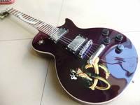 Nouvelle Arrivée lp slash guitare électrique avec abalone serpent incrustation acajou corps en violet 110921