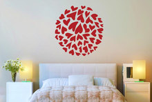 YOYOYU Vinyl wall stickers Small Heart In A Circle Pattern Removeable Wall Decal Salon Bedroom Wall Decor Room Decoration ZX258 цена