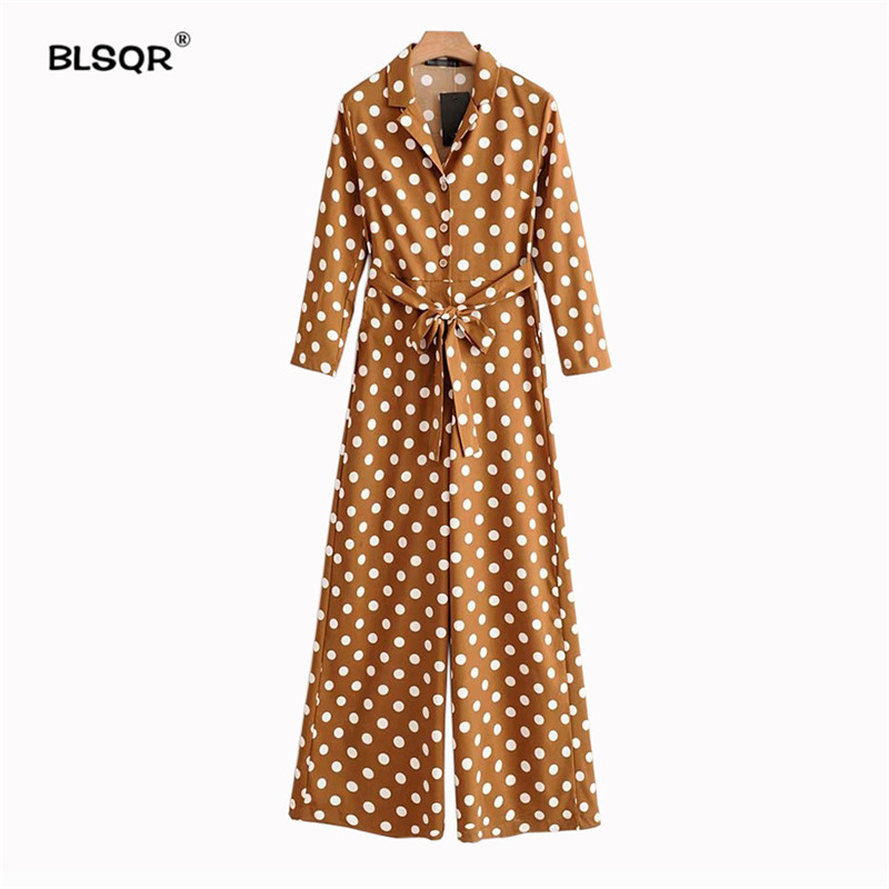 BLSQR Fashion Women Cute Polka Dots Notched Collar   Jumpsuits   Pockets Half Sleeve Rompers Playsuits Vintage Female Casual Pants