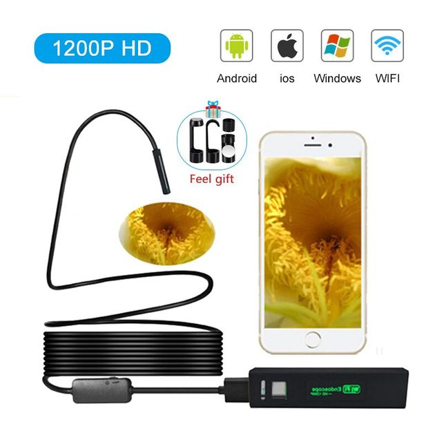 WiFi Inspection Camera IP68 Waterproof 1200P Wireless Endoscope Tube Snake Camera With 8 LED Lights for IOS Android Smartphone