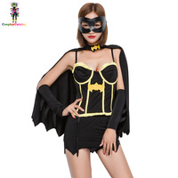 Black Halloween Women Sexy Batman Costumes Party Cosplay SuperWoman Hero Dresses Carnival Costume with Cloak/Goggles
