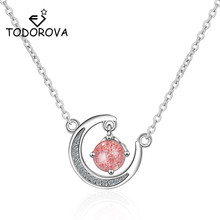 Todorova Moonstone Strawberry Crystal Necklace Cubic Zircon Moon Pendant Women Accessories Fashion Clavicle Chain