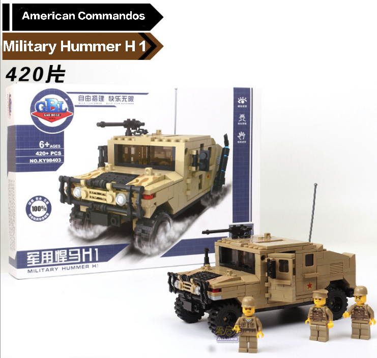 420pcs Building Blocks Hummer Military Series commandos DIY Toys Children Birthday Present Intelligence Plaything 8 in 1 military ship building blocks toys for boys