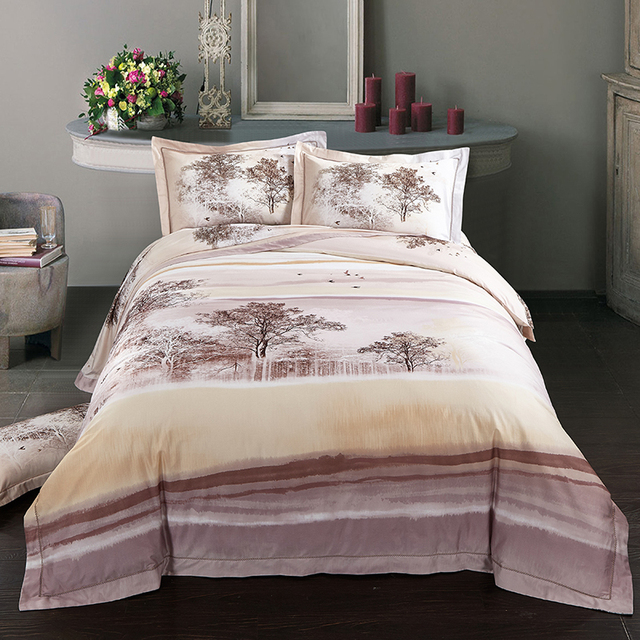 ARNIGU Tree Printed Tribute Silk Bedding Set Egyptian Cotton Bed Sheet  Pillowcase Quilt/Duvet Cover