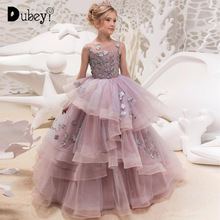 Girl Party Dress Elegant Princess Girls Costumes Maxi Long  Flower Dresses 4-15 Years