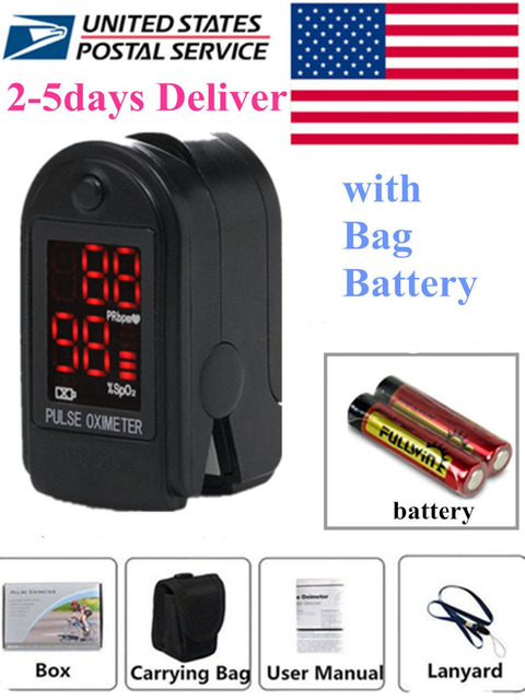 CONTEC-Pulse-Oximeter-Fingertip-CMS50DL-Blood-Oxygen-SpO2-Monitor-FDA-US-Seller Free Lanyard+Case+Batteries, 2-6 Days Delivery,