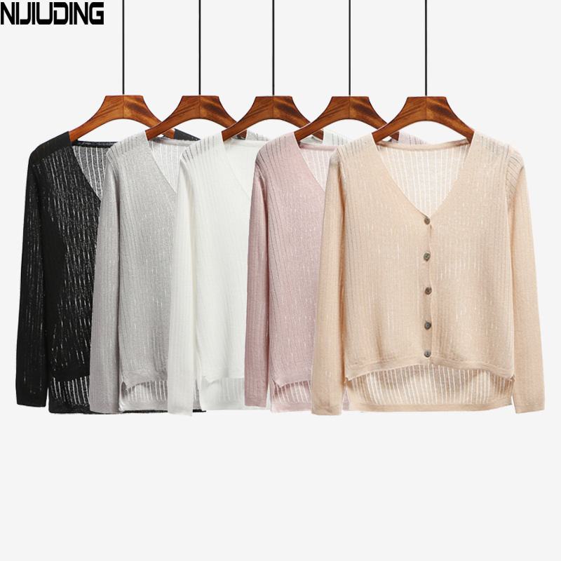 Summer Long Sleeves Hollow Out Beach Cool Cardigans Spring Women Long Sweater Knitted Mujer New Crochet Femme Casual Ladies Tops