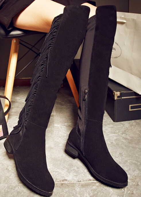 цены  Women Spring Autumn Flats Full Grain Leather Tassel Round Toe Side Zipper Fashion Over The Knee Boots Size 34-39 SXQ0910