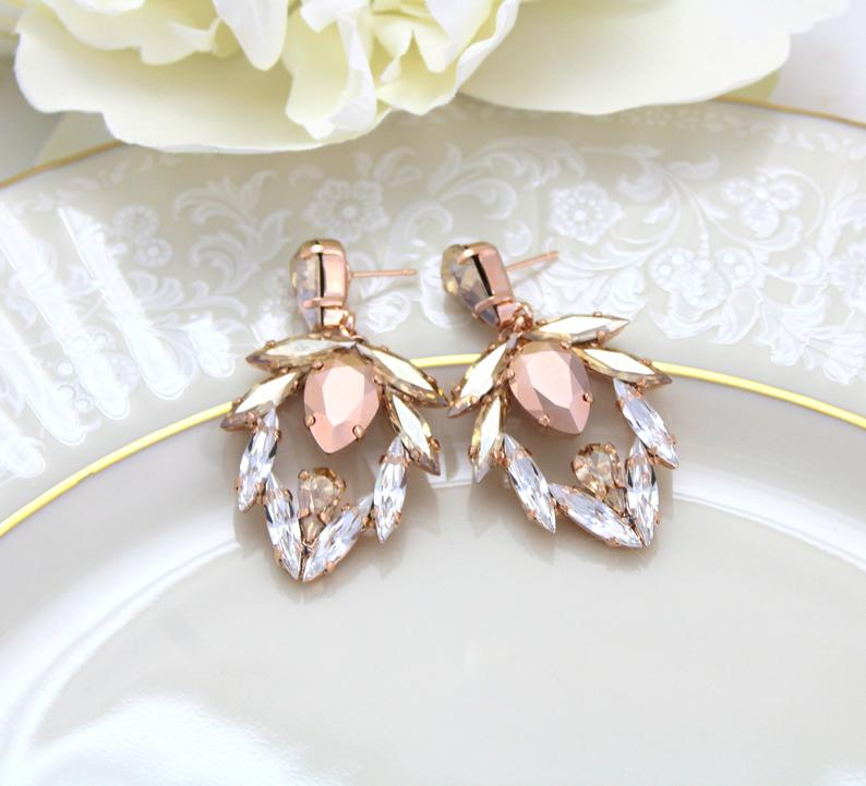 Rose Gold Earrings, Bridal Earrings, Bridal Jewelry, Chandelier Earrings, Statement Earrings, Crystal Wedding EarringsRose Gold Earrings, Bridal Earrings, Bridal Jewelry, Chandelier Earrings, Statement Earrings, Crystal Wedding Earrings