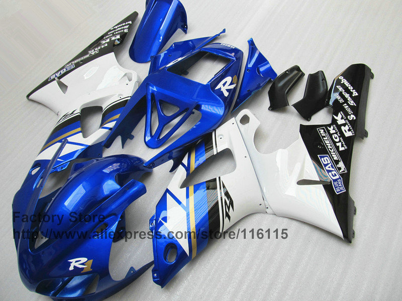 Custom 100% fit injection fairings kit for 1998 1999 YAMAHA YZF R1 98 99 blue white aftermarket fairing parts yellow white fairings fits yamaha yzf r1 2000 2001 body kits yzfr1 00 01 bodywork fairing kit parts u6x1 6 gifts