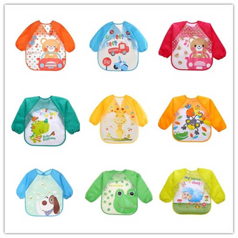 Детские нагрудники для детей с принтом с длинным рукавом непромокаемое покрытие для шарф для малышей кормления халат аксессуары для кормления младенцев
