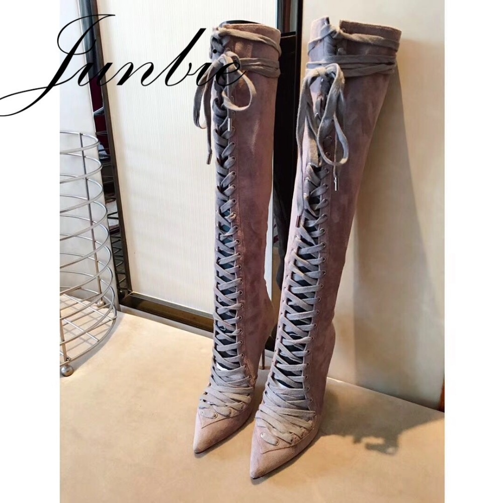 JUNBIE New Genuine Leather Gladiator Lace Up Women Autumn Winter Boots Brand Pointed Toe Thin HIgh Heel Women Boots Shoes Women цена